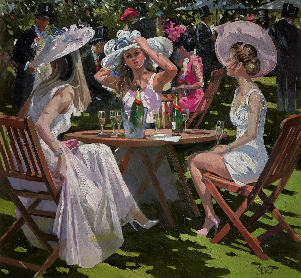 Ladies' Day, Royal Ascot by Sherree Valentine Daines -  sized 26x24 inches. Available from Whitewall Galleries